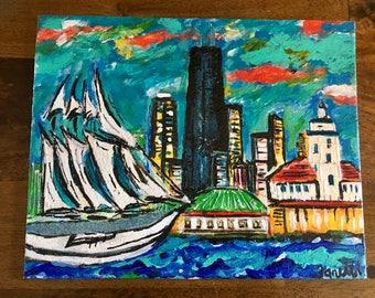 Lake Michigan and Navy Pier painting