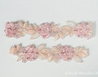 Blush Garter,Blush Wedding Garter,Blush Pink Lace Garter,Blush Pink Bridal Garter,Blush & Ivory Flower Garter,Rhinestone Garter, Prom Garter