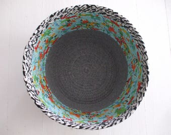 Coil Basket, Black, White, Gray, Turquoise, Multi, Storage Container