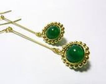 Oriana L. Earrings / Green Agate / Handmade / 14k Gold-filled
