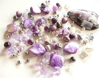 BULK BEADS-Swarovski Crystal Violet Round & Bicone-MOP Pendant - Amethyst Ovals-Pearls- Silver -over 145 loose beads