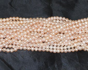 """Freshwater Pearl 4.5-5mm Semi- Round Natural Pink - 16"""" Strand"""