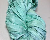 New Sari Silk Ribbon Pale Aqua Tassel Supply Dreamcatcher Jewelry Garland Ribbon Fair Trade Felt Crochet Scrapbook Weave Fiber Art Supply
