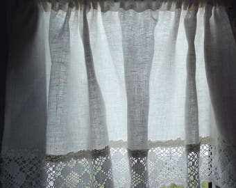 White linen curtain. Valance with lace. Linen valance. Laced curtain. Kitchen valance. Kitchen curtain.