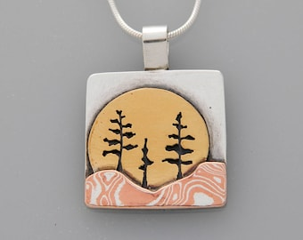 "Mixed metal jewelry, ""Three Trees"" mixed metal tree pendant, landscape jewelry"