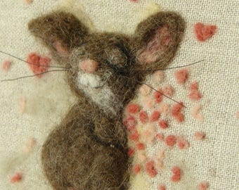 Embroidery Hoop Art Love Mouse  3D Wool Painting, Needle felted Painting Embroidery Hoop Art Whimsical Mouse Hanging Art
