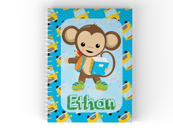 Monkey Personalized Notebook - Monkey School Boy Blue Polka Dot School Bus with Name, Customized Spiral Notebook Back to School
