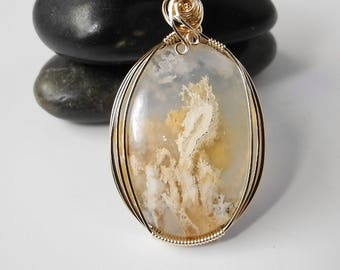 Graveyard Point Plume Agate, Plume Agate Pendant, Wire Wrapped, Oregon Idaho Agate, Graveyard Agate Pendant,  Agate Jewelry