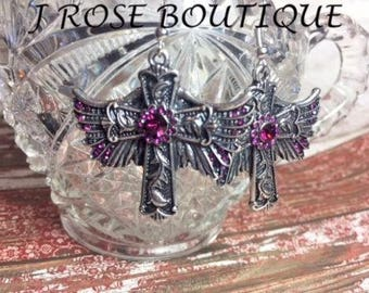 hOT PINK  Cross Wings Biker Southwestern Sterling Silver Shabby Chic  Rockabilly earrings Quilt Western Diva