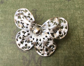 "Pretty Vintage Butterfly Shaped Brooch Signed ""Emmons"""