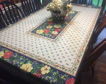 Vintage Blue tablecloth with a floral design throughout for housewares sewing, doll, bridal, baby, couture, costume by MarlenesAtti