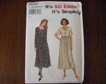 VINTAGE 1990s Simplicity Pattern 9280, Misses High Waisted Dress Loose Fitting Skirt, Variations, Size SX-XL