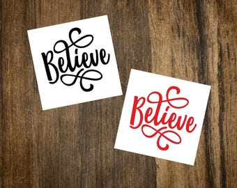 Christmas Decal | Believe Decal | Christmas Decor | Vinyl Decal | Mirror Decal | Glass Decal | Wine Glass Decal