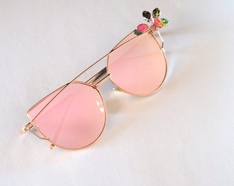 Rose Gold Decorated sunglasses Embellished mirrored retro Flat lens sun glasses Nature inspired Handmade Summer Ready to ship gifts