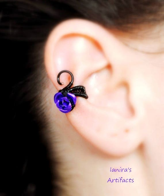 Rose ear cuff ~ Wire wrapped ~ Handmade