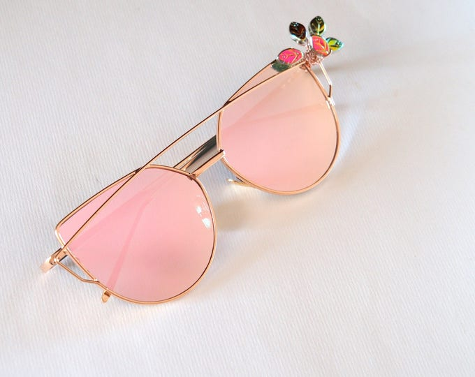 Rose Gold mirrored sunglasses embellished with Czech glass leaf beads