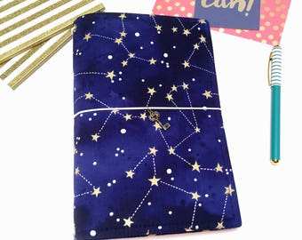 Constellation Fauxdori. A5 Traveler Notebook Cover. Galaxy Fauxdori. Fauxdori Cover. Personal Size. Planner Cover. Star Bullet Journal Cover