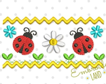 Cute Ladybug Ornament Machine Embroidery Design DE054