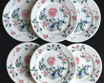 """Vintage Walker Diner Hotel Restaurant China Set of 6 9-1/8"""" Chrysanthemum Plates in Excellent Lightly-Used Condition"""
