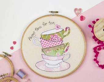 ON SALE Tea time embroidery hoop art - Gift for Tea lover - Kitchen art - Teacup embroidery hoop wall - Tea lover art - Always time for tea
