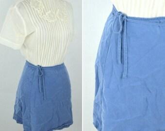 SUMMER SALE Vintage 1990's Blue Mini Wrap Skirt - Cotton Wrap Around Tie waist Summer Skirt - Ladies xsmall