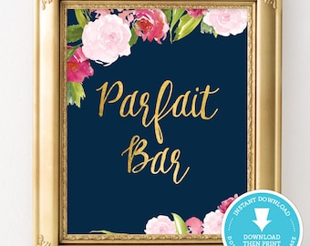 Navy and Gold Parfait bar sign - Navy and gold bridal shower sign - Navy and gold wedding - wedding sign - bridal shower decoration
