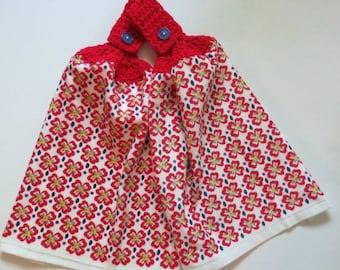 Red four leaf clover Crochet Top Kitchen Towel Set of 2