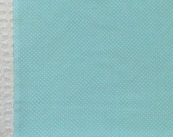 Dotted Swiss Fabric / Blue Dotted Swiss / Vintage Dotted Swiss / Aqua Blue Dotted Swiss Fabric / Cotton Blend Dotted Swiss