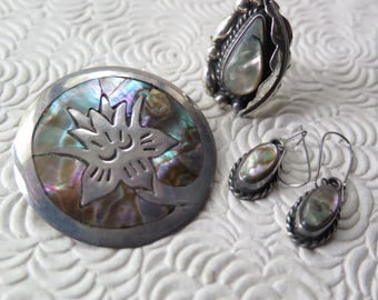 Mexican Sterling Silver Abalone Shell Jewelry Taxco Inlay Brooch Pendant Ring Earrings Eagle Mark 1960s Hecho en Mexico Boho Bride 925