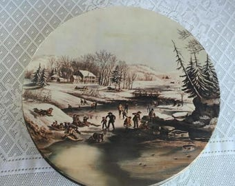 CIJ Metal Container / Vintage Currier and Ives Cookie Tin / Christmas Decor / Kitchen Storage