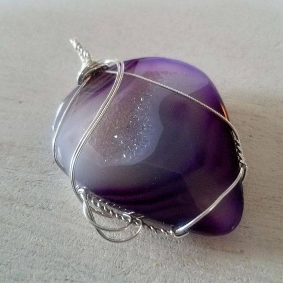 Purple/Indigo Color Dyed Druzy Quartz Pendant