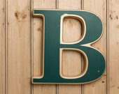 Vintage Letter B, Green and Gold Letter B, old pub letters, old shop letters, wall art, decorative piece, collectable, interiors