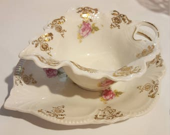 Pair of Vintage Porcelain Dishes, Rose and Gold