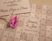100-150 pcs Wedding Guest Book Puzzle Custom Puzzle Heart Tabs)