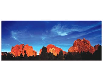 Landscape Photography 'Rocky Towers' by Meirav Levy - Desert Mountains Art Traditional Red Rocks Decor on Metal or Plexiglass