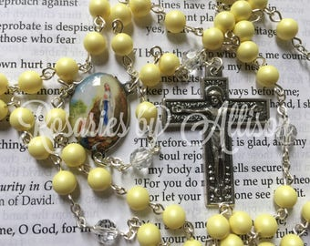 Pastel Yellow Swarovski Crystal pearl and Crystal Swarovski bead Rosary with silver plated color Our Lady of Lourdes center and crucifix