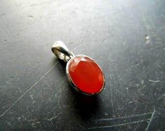 Pendant, sterling silver, carnelian, orange, jewelry