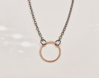Blackened Silver Necklace with Solid 9ct Rose Gold Textured Ring