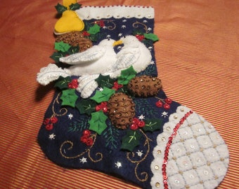 "Bucilla completed 18"" felt stocking ""Turtle Doves"""