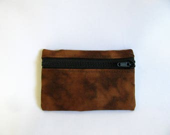 Small pouch- Mottled brown cotton