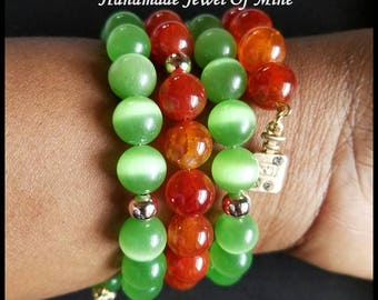 Green/ Orange Memory Wire Bracelet! Gemstone Wrap Bracelet. Boho Style! Beautifully Handmade For Her!