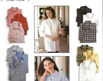 ON SALE Ladies Casual Shirt Pattern, Simplicity 9818, Size 6-8-10, UNCUT
