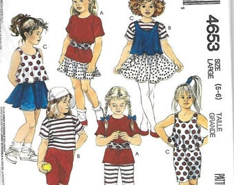 25% OFF Easy McCall's 4653 Children's Tops, Skirt, Pants, Shorts And Sash Pattern, Stretch Knits, Size 5-6, UNCUT