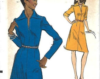 ON SALE Vogue 8789 Misses Front Neckline Slit, Pointed Collar, Semi-Fitted Dress Pattern, Size 18, Bust 40, UNCUT