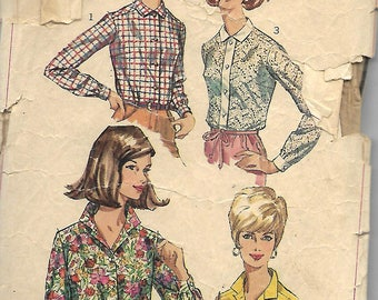 1960s Simplicity 6526 Misses Set of Blouses Pattern, Size 18, Bust 38