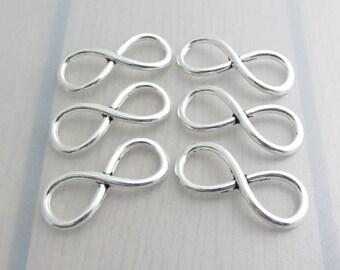 6 Silver Infinity Charms, 30mm x 12mm Eternity Charm, Jewelry Craft Supply, Bead Destash
