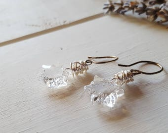 Edelweiss Earrings -- Crystal Clear Christmas Flower earrings, Ready to Ship