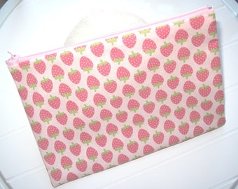 Pouch Makeup organizer Cosmetic case with Strawberries