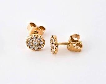 Diamond Bridal Small Earrings, Diamond Rose Gold Stud Earrings, Small Diamonds Earrings, Wedding Earring 18k Rose Gold Women's Earring Post