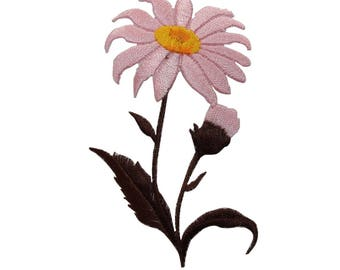 ID 6285 Pink Wildflower Patch Flower Buds Pansy Embroidered Iron On Applique